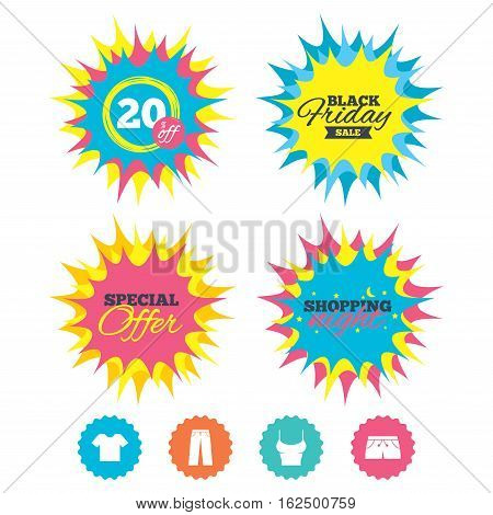 Shopping night, black friday stickers. Clothes icons. T-shirt and pants with shorts signs. Swimming trunks symbol. Special offer. Vector