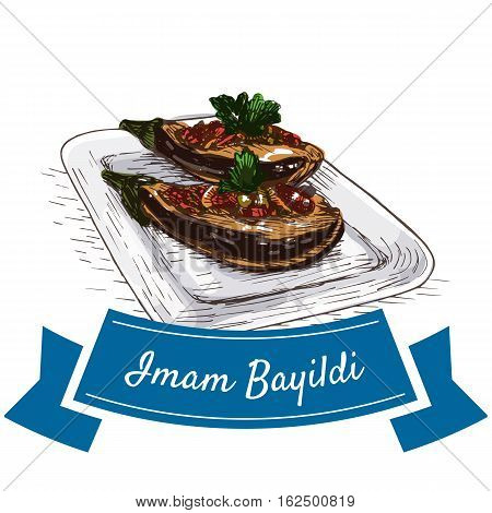 Iman Bayildi colorful illustration. Vector illustration of turkish cuisine.