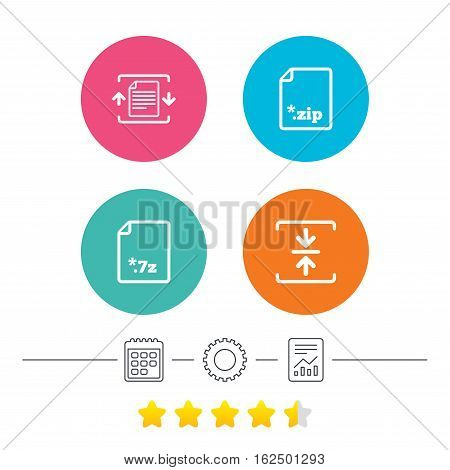 Archive file icons. Compressed zipped document signs. Data compression symbols. Calendar, cogwheel and report linear icons. Star vote ranking. Vector