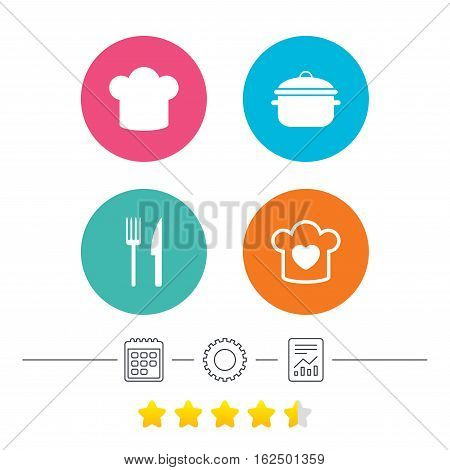 Chief hat and cooking pan icons. Fork and knife signs. Boil or stew food symbols. Calendar, cogwheel and report linear icons. Star vote ranking. Vector