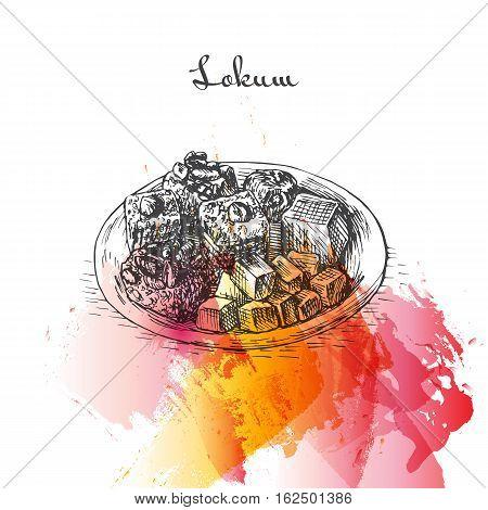 Lokum watercolor effect illustration. Vector illustration of Turkish cuisine.