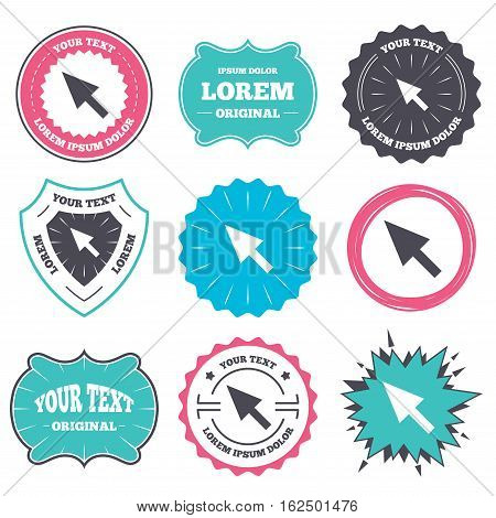 Label and badge templates. Mouse cursor sign icon. Pointer symbol. Retro style banners, emblems. Vector