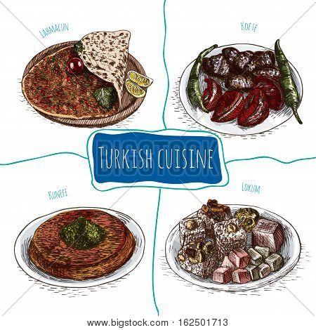 Menu of Turkey colorful illustration. Vector illustration of Turkish cuisine.