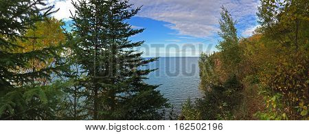 panoramic photograph of a peak of Lake Superior