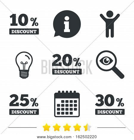 Sale discount icons. Special offer price signs. 10, 20, 25 and 30 percent off reduction symbols. Information, light bulb and calendar icons. Investigate magnifier. Vector