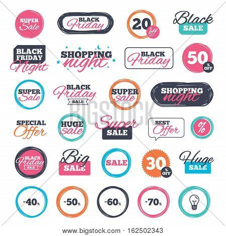Sale shopping stickers and banners. Sale discount icons. Special offer price signs. 40, 50, 60 and 70 percent off reduction symbols. Website badges. Black friday. Vector