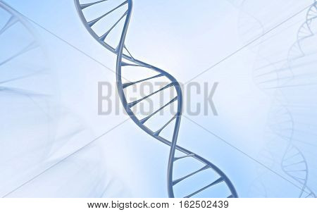 Silver/ metal DNA strand Double helix in front of a white and bluish grey background showing faint echos of the double helix around it.