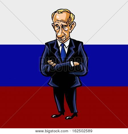 Vladimir Putin Cartoon Portrait of The President of the Russian Federation With Flag Background