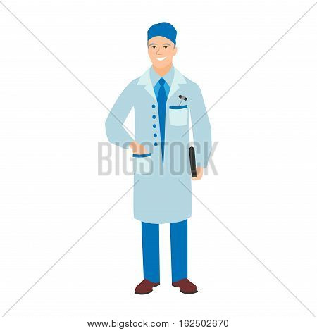 Vector illustration of a man in blue coat. Flat style doctor character. Professional cartoon head physician medical human worker. Uniform occupation person isolated male.