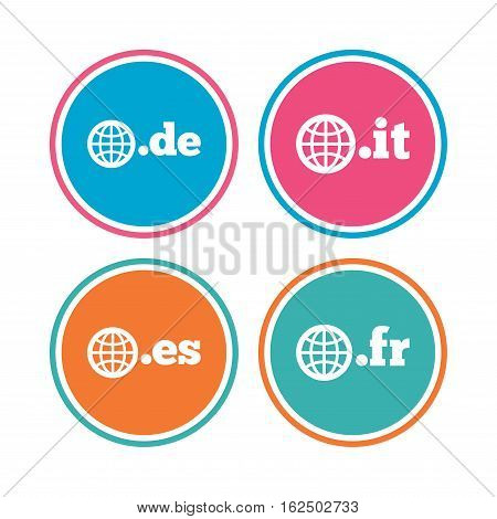 Top-level internet domain icons. De, It, Es and Fr symbols with globe. Unique national DNS names. Colored circle buttons. Vector