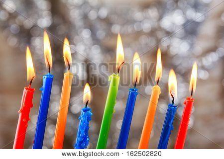 Jewish Holiday Tallit Lighting Hanukkah Candles Celebration