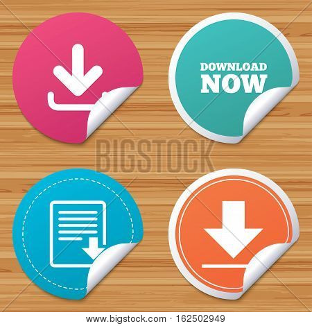 Round stickers or website banners. Download now icon. Upload file document symbol. Receive data from a remote storage signs. Circle badges with bended corner. Vector