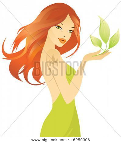 beautiful redhaired girl with green leaf