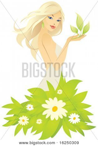 beautiful blonde girl with green leaf