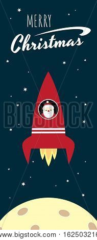 Vector retro styled illustration of Santa Claus flying in a red space rocket. Moon and stars on the background. Long vertical format. Text