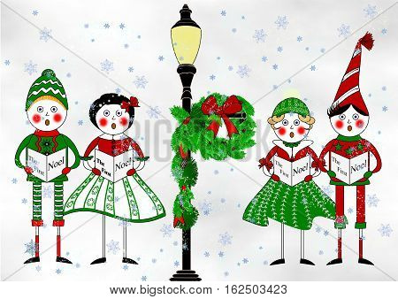 An illustration of two boys and two girls dressed in period clothing caroling beneath a lamp post decorated for Christmas with a swag and a wreath