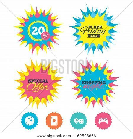 Shopping night, black friday stickers. Bowling and Casino icons. Video game joystick and playing card with dice symbols. Entertainment signs. Special offer. Vector