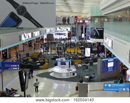 DUBAI, UAE - NOV 28: Terminal 1 at Dubai International Airport, one of the busiest airports, as seen on Nov 28, 2016. It is the world's busiest airport by international passenger traffic.