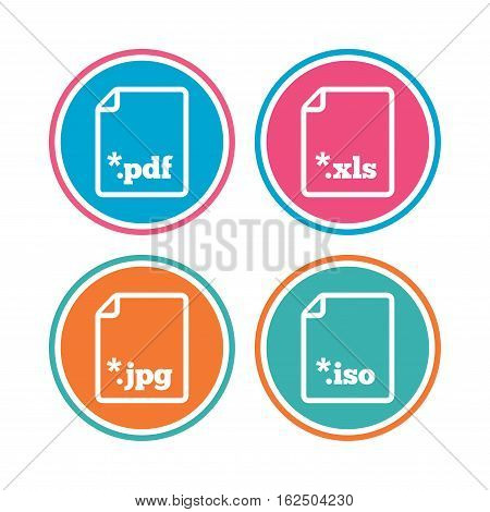 Download document icons. File extensions symbols. PDF, XLS, JPG and ISO virtual drive signs. Colored circle buttons. Vector