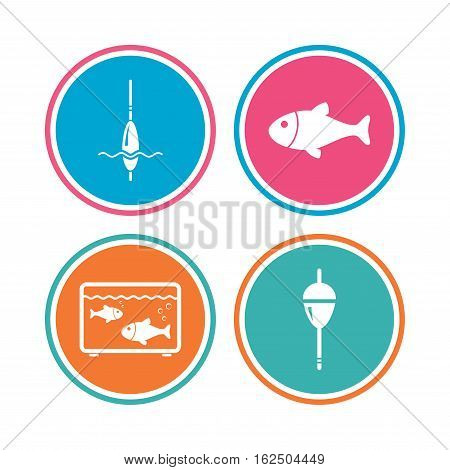 Fishing icons. Fish with fishermen hook sign. Float bobber symbol. Aquarium icon. Colored circle buttons. Vector