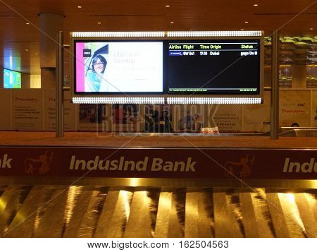 MUMBAI, INDIA - NOV 29: Chhatrapati Shivaji International Airport in Mumbai, India, as seen on Nov 29, 2016. It is the second busiest airport in the country in terms of passenger traffic and international traffic after Delhi.