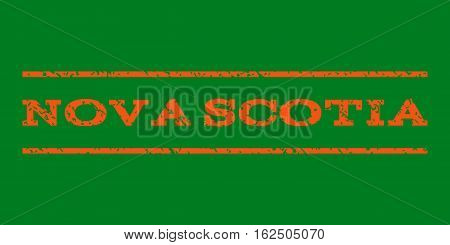 Nova Scotia watermark stamp. Text tag between horizontal parallel lines with grunge design style. Rubber seal stamp with dust texture. Vector orange color ink imprint on a green background.