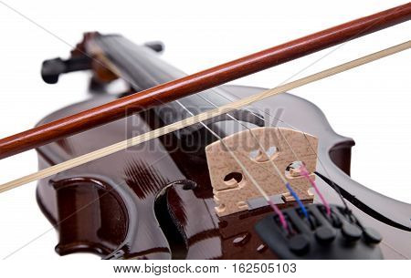 Wooden brown fiddle with bow on white background