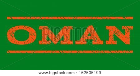 Oman watermark stamp. Text tag between horizontal parallel lines with grunge design style. Rubber seal stamp with unclean texture. Vector orange color ink imprint on a green background.