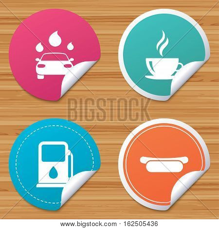 Round stickers or website banners. Petrol or Gas station services icons. Automated car wash signs. Hotdog sandwich and hot coffee cup symbols. Circle badges with bended corner. Vector