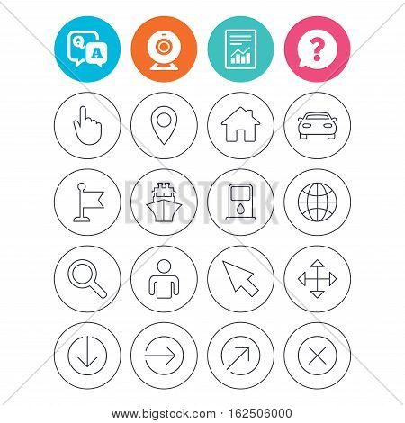 GPS navigation icons. Car and Ship transport. You are here, map pointer symbols. Search gas or petrol stations, hotels. Report document, question and answer icons. Web camera sign. Vector