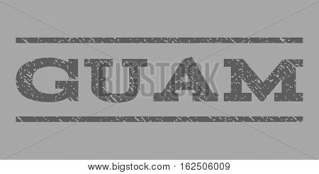 Guam watermark stamp. Text caption between horizontal parallel lines with grunge design style. Rubber seal stamp with unclean texture. Vector dark gray color ink imprint on a silver background.