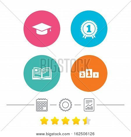 Graduation icons. Graduation student cap sign. Education book symbol. First place award. Winners podium. Calendar, cogwheel and report linear icons. Star vote ranking. Vector