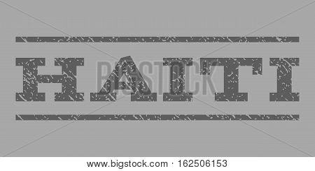 Haiti watermark stamp. Text tag between horizontal parallel lines with grunge design style. Rubber seal stamp with dirty texture. Vector dark gray color ink imprint on a silver background.