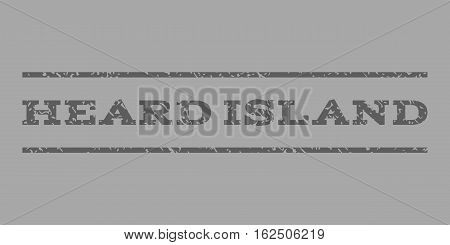 Heard Island watermark stamp. Text tag between horizontal parallel lines with grunge design style. Rubber seal stamp with dust texture. Vector dark gray color ink imprint on a silver background.