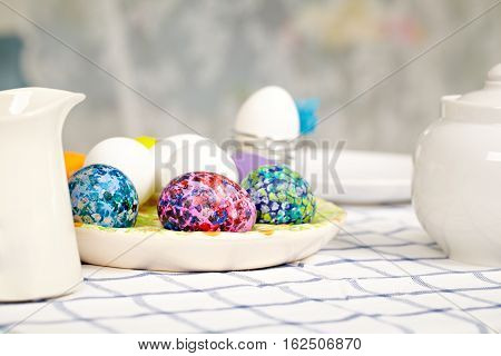 Close-up of Easter table setting at home