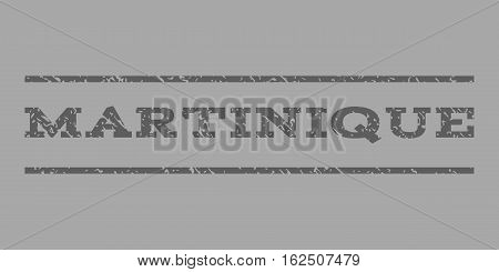 Martinique watermark stamp. Text caption between horizontal parallel lines with grunge design style. Rubber seal stamp with unclean texture. Vector dark gray color ink imprint on a silver background.