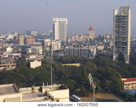 MUMBAI, INDIA - NOV 29: Aerial view of South Mumbai in Maharashtra, India, as seen on Nov 29, 2016. It is the most populous city in India and the ninth most populous agglomeration in the world.