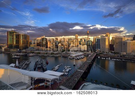 SYDNEY AUSTRALIA - December 20 2016 : Sunset of Darling Harbour adjacent to the city center of Sydney and also a recreational place in Sydney central business district