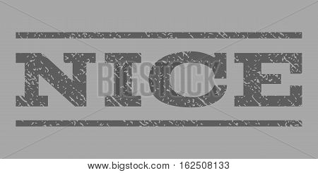 Nice watermark stamp. Text caption between horizontal parallel lines with grunge design style. Rubber seal stamp with dirty texture. Vector dark gray color ink imprint on a silver background.
