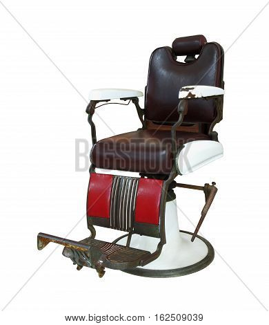 Old barber chair isolated on white background clipping path.