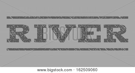 River watermark stamp. Text caption between horizontal parallel lines with grunge design style. Rubber seal stamp with unclean texture. Vector dark gray color ink imprint on a silver background.