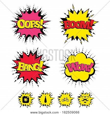 Comic Boom, Wow, Oops sound effects. Hipster photo camera. Mustache with beard icon. Glasses and tie symbols. Bicycle sign. Speech bubbles in pop art. Vector