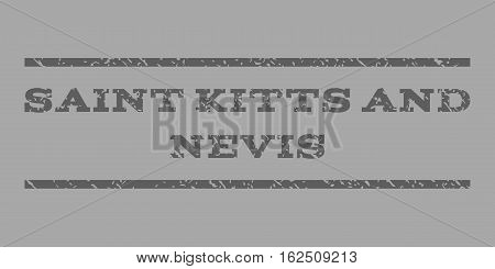Saint Kitts and Nevis watermark stamp. Text tag between horizontal parallel lines with grunge design style. Rubber seal stamp with scratched texture.