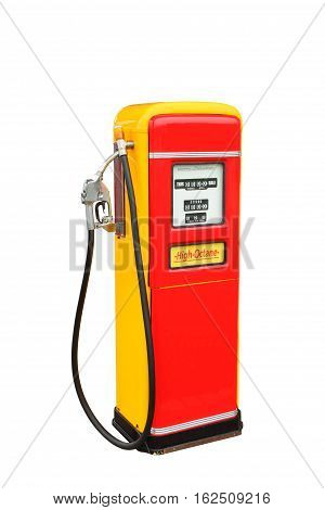 Red and yellow vintage gasoline fuel pump clipping path