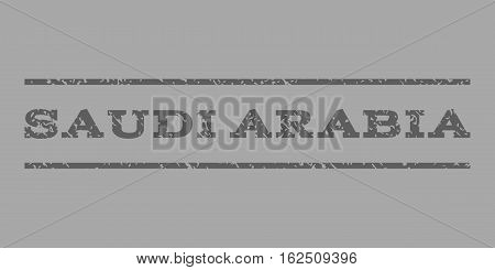 Saudi Arabia watermark stamp. Text caption between horizontal parallel lines with grunge design style. Rubber seal stamp with dust texture. Vector dark gray color ink imprint on a silver background.