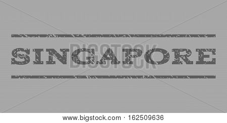 Singapore watermark stamp. Text caption between horizontal parallel lines with grunge design style. Rubber seal stamp with dirty texture. Vector dark gray color ink imprint on a silver background.