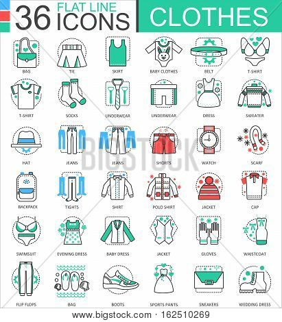Vector Clothes shoes flat line outline icons for apps and web design. Clothes shoes icon