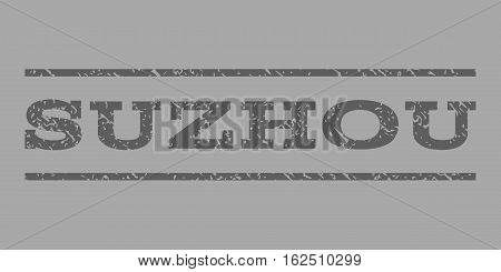 Suzhou watermark stamp. Text caption between horizontal parallel lines with grunge design style. Rubber seal stamp with dust texture. Vector dark gray color ink imprint on a silver background.