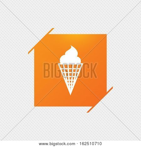 Ice Cream in waffle cone sign icon. Sweet symbol. Orange square label on pattern. Vector