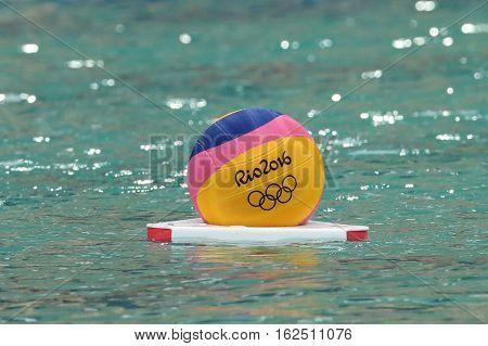 RIO DE JANEIRO, BRAZIL - AUGUST 10, 2016: Rio 2016 water polo ball at the Maria Lenk Aquatic Center in Rio de Janeiro